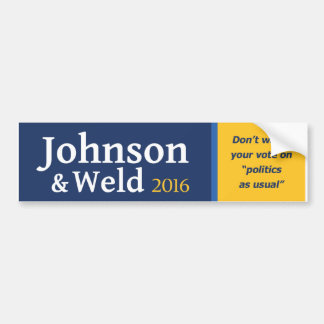 "Don't waste your vote on ""politics as usual"". bumper sticker"