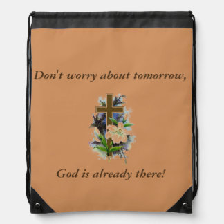 Don't Worry Backpack w/Blue Flower Cross
