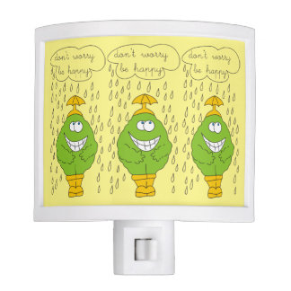 Don't Worry Be Happy Funny Creature in Rain Night Light