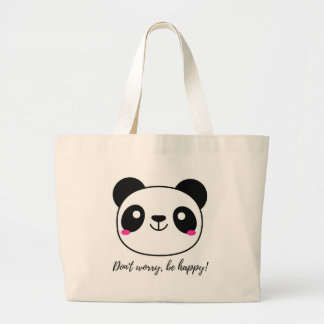 Don't Worry, Be Happy! Slogan Large Tote Bag