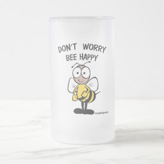 Don't Worry Bee Happy Frosted Glass Beer Mug