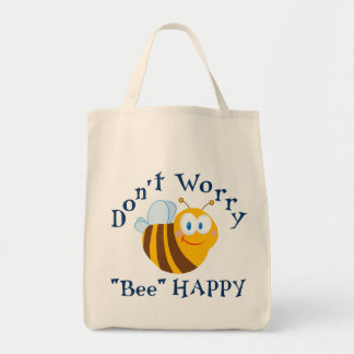 "Don't worry ""Bee"" Happy Reusable Tote Bag"