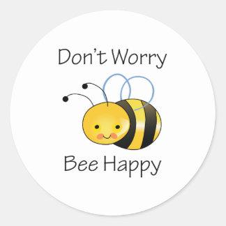 DONT WORRY BEE HAPPY ROUND STICKER