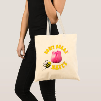 Don't Worry BEE Happy tote bag 🐝 Barcelona Tulip