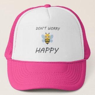 Don't worry bee happy with bee emoji trucker hat
