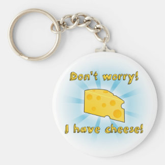 Don't Worry I have Cheese - Gradient Basic Round Button Key Ring