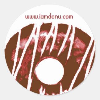 donu logo, www.iamdonu.com round sticker