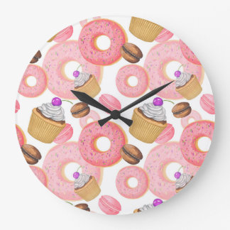 Donut and Cupcake Dessert Pattern Large Clock
