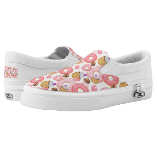 Donut and Cupcake Dessert Pattern Slip-On Shoes