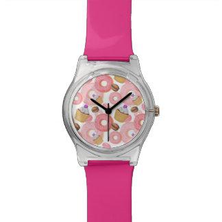 Donut and Cupcake Dessert Pattern Wristwatch