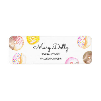 Donut birthday kid party return label