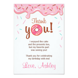 Donut Birthday Party Doughnut Thank You Card Girl