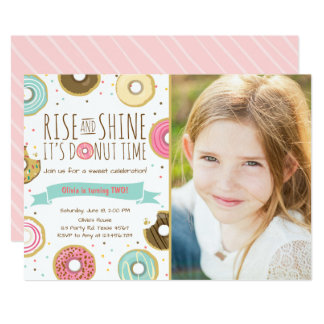 Donut Birthday Party Invitation Rise and Shine