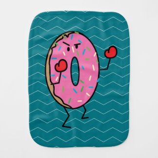 Donut Boxing Fighter with Red Gloves Burp Cloth