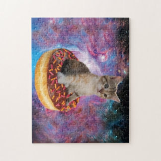 Donut cat-cat space-kitty-cute cats-pet-feline jigsaw puzzle