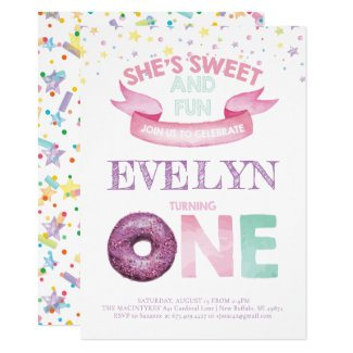 Donut First Birthday Watercolor Invitation