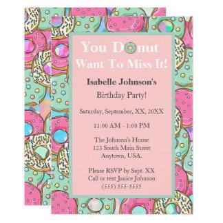 Donut Miss It Donut Birthday Party Invitation