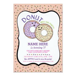 Donut Miss The Party Birthday Invite Doughnut Pink