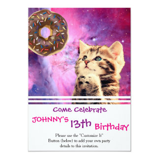 Donut Praying Cat 13 Cm X 18 Cm Invitation Card