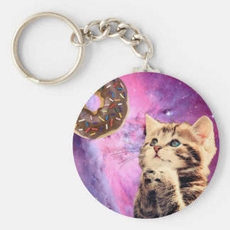Donut Praying Cat Key Ring
