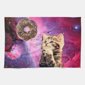 Donut Praying Cat Tea Towel