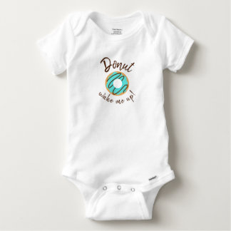 Donut Wake Me Up Blue With Chocolate Drizzle Baby Onesie