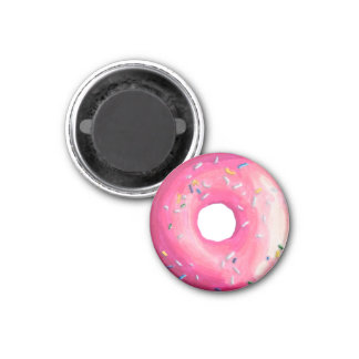 Donut With Pink Frosting And Sprinkles 3 Cm Round Magnet