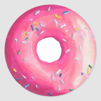 Donut With Pink Frosting And Sprinkles Round Sticker
