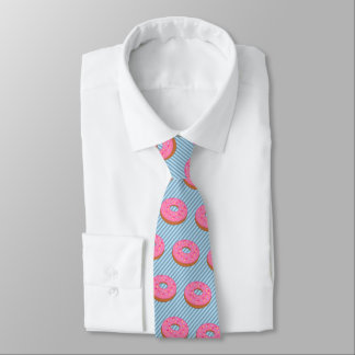 Donut with Pink Frosting - Stripe on Your Color Tie