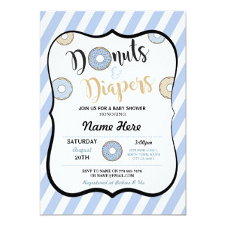 Donuts and Diapers Blue Baby Shower Invite