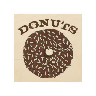 DONUTS Chocolate Coconut Doughnut Breakfast Food Wood Print