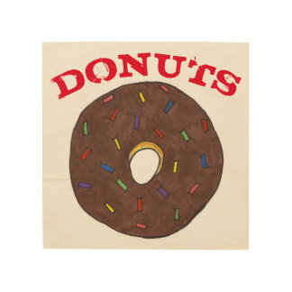 Donuts Chocolate Doughnut Rainbow Sprinkles Food Wood Wall Art