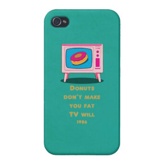 Donuts don make you fat, but TV will Funny Cartoon Case For iPhone 4