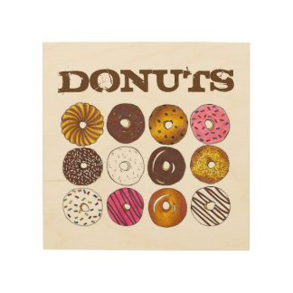 Donuts Doughnuts Sprinkles Donut Junk Food Foodie Wood Wall Art