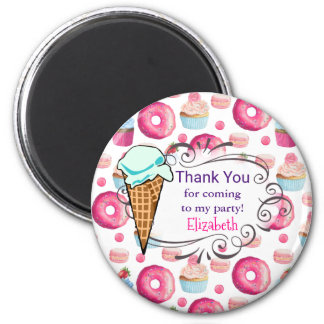 Donuts Macarons And Cupcake Party Thank You Custom 6 Cm Round Magnet