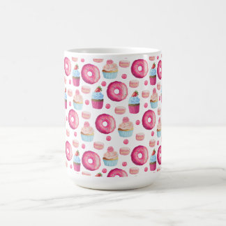 Donuts Macarons And Cupcake Pattern In Watercolor Coffee Mug