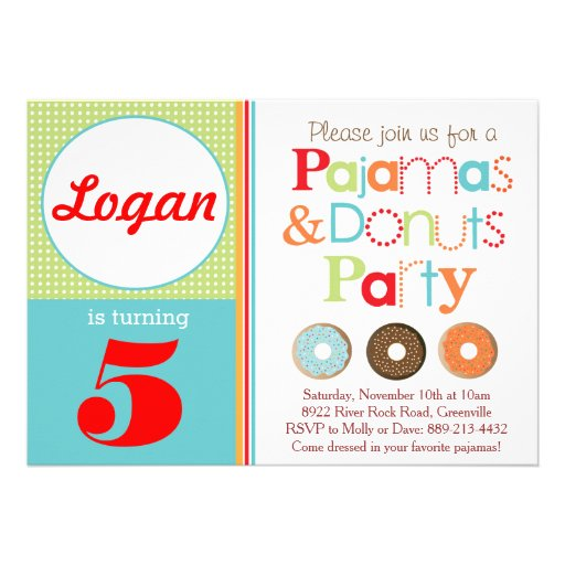 Donuts & Pajamas Party Invitation (Boys) Announcement