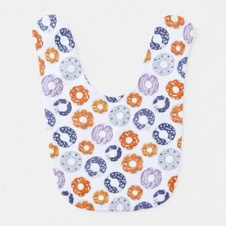 Donuts pop art cool blue orange pattern bib