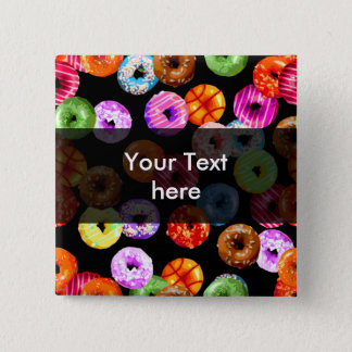 Donuts seamless pattern + your backgr. & ideas 15 cm square badge
