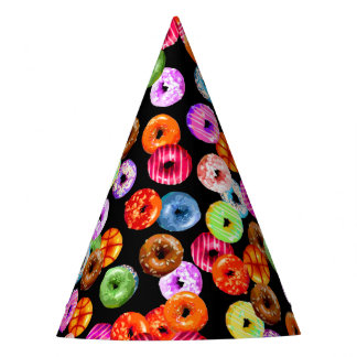 Donuts seamless pattern + your backgr. & ideas party hat