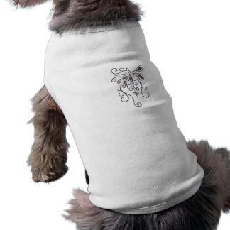 Doodle Arabesque - drawn black on white ornaments Sleeveless Dog Shirt