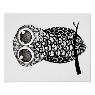 Doodle art owl poster