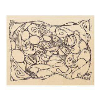Doodle Art Wood Canvas