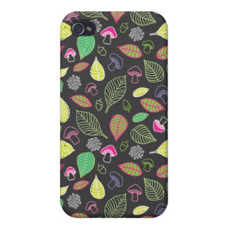 Doodle autumn pattern with mushrooms iphone case iPhone 4 covers