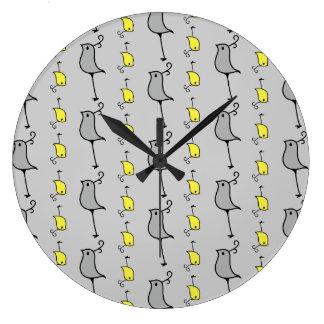 Doodle Birds, Grey and Yellow Large Clock