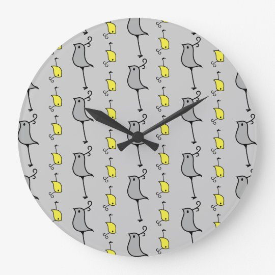 Doodle Birds, Grey and Yellow Large Clock