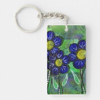 Doodle Blue Balloon Flower Double-Sided Rectangular Acrylic Keychain