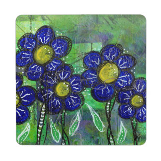 Doodle Blue Balloon Flower Puzzle Coaster