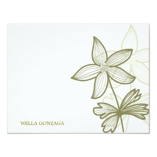 doodle botanical flower 11 cm x 14 cm invitation card