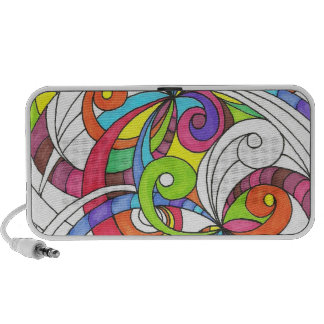 Doodle Case Floral abstract background iPod Speakers